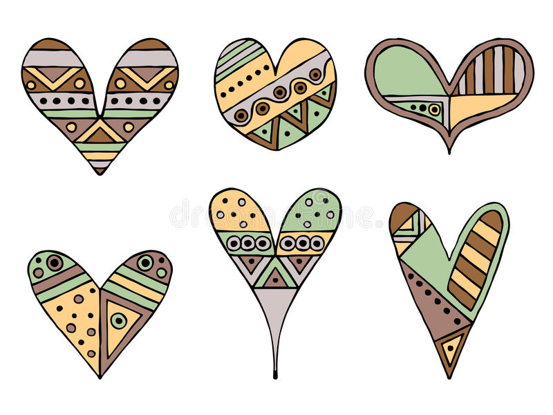 Set of vector hand drawn decorative stylized childish hearts. Doodle style, graphic illustration. Ornamental cute hand drawing in royalty free illustration