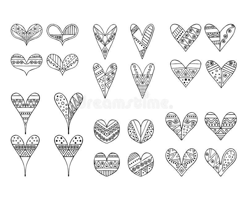Download Set Of Vector Hand Drawn Decorative Stylized Childish Hearts Doodle Style Tribal Graphic