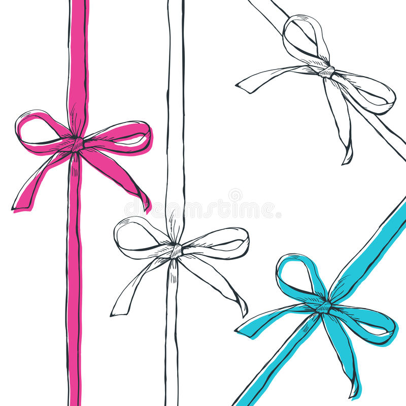 Set of vector hand drawn outline bow ribbons, on white background. royalty free illustration