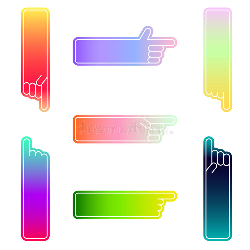 Set of vector hand pointers in different color stock illustration