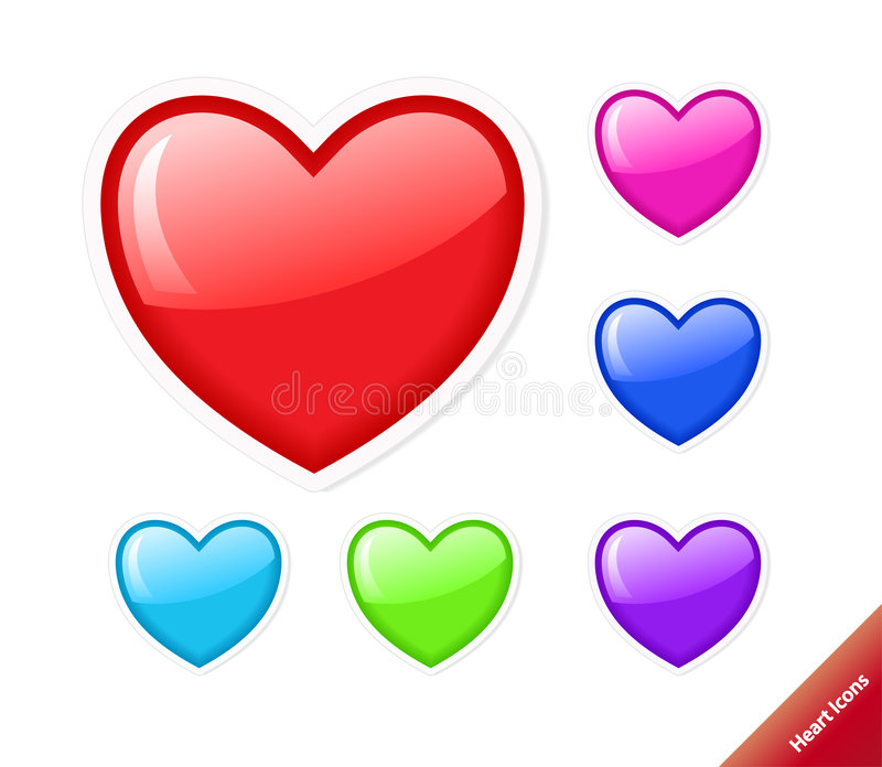 Download Set of vector heart icons. stock vector. Illustration of color - 8608673