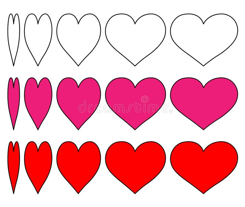 `Set of vector heart icons with a change of outline heart and pink and red hearts surrounded by black.Design the love symbol with royalty free illustration