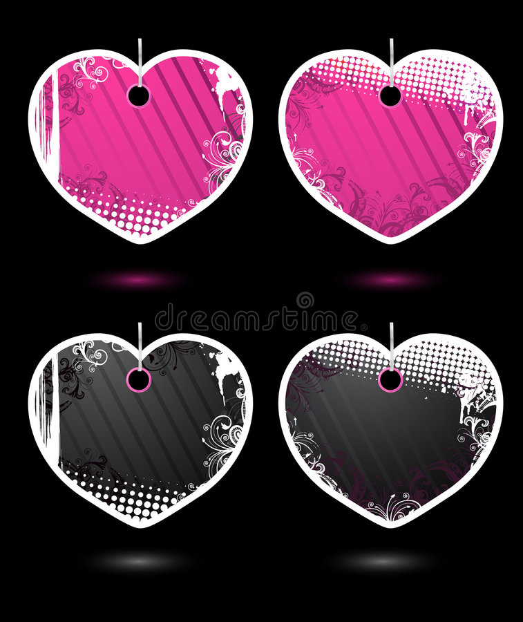 Download Set Of Vector Heart-shaped Labels Stock Vector - Illustration of collection, abstract: 7918748