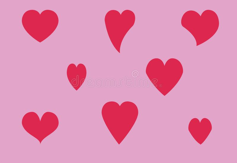 Set of vector hearts of different shapes stock illustration