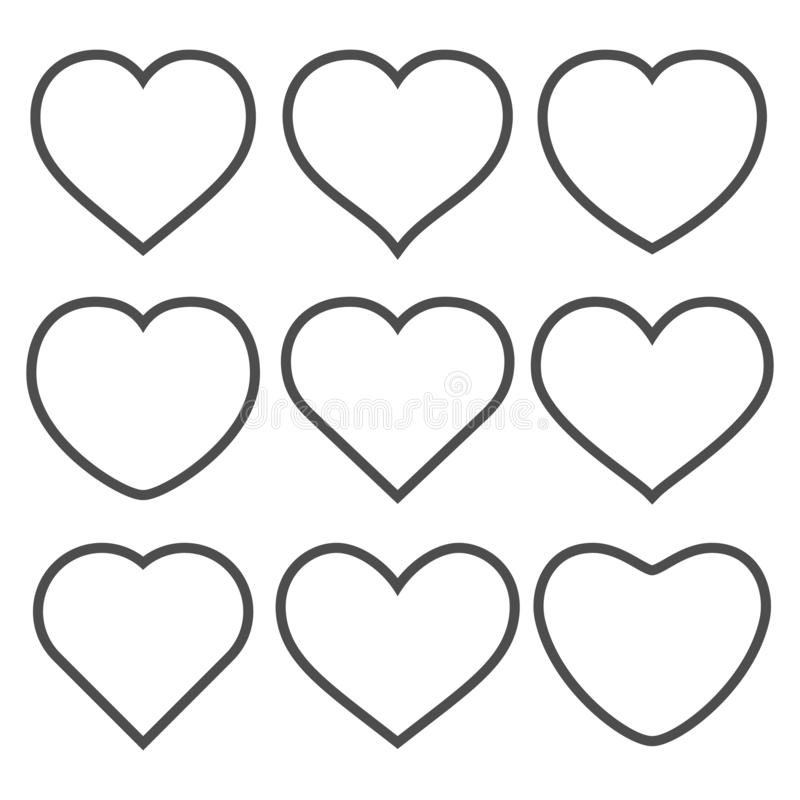 Set of vector hearts on white background. Collection of vector hearts on white background vector illustration