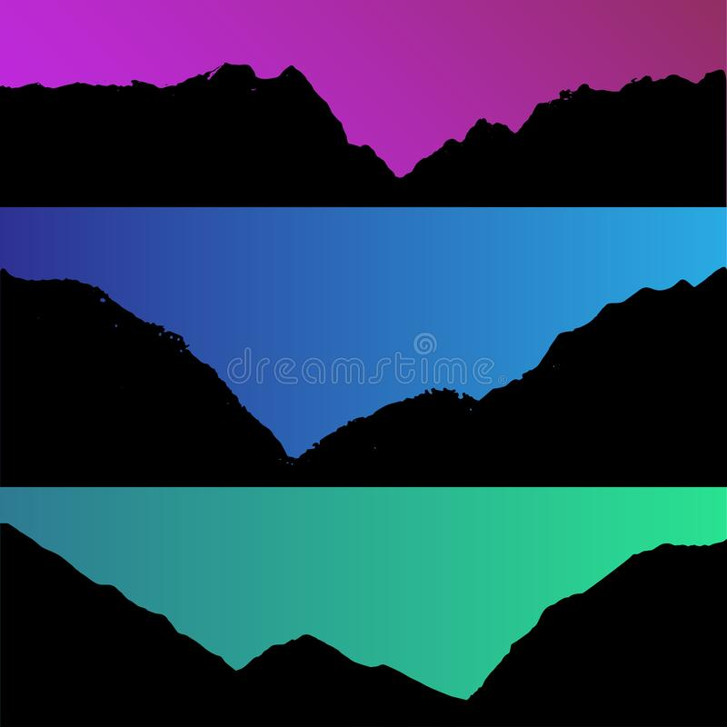 Set of vector hills and mountain landscape silhouette. Realistic trees, woods on hill silhouettes on night and evening. Sky. Outdoor environmental nature scene royalty free illustration