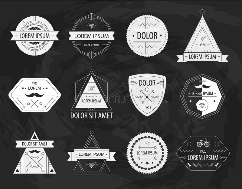 Set of vector hipster modern labels, icons royalty free illustration