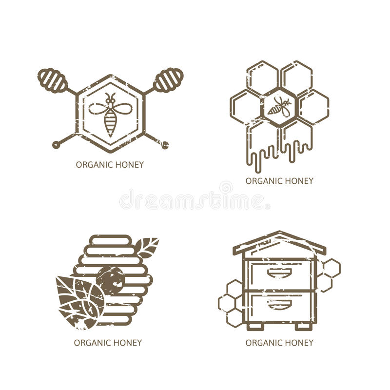 Set of vector honey label, logo, tag, sticker design elements. Bee, hive, honeycombs royalty free illustration