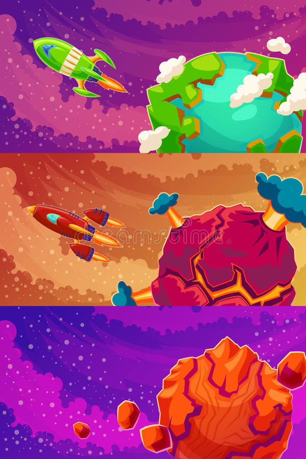 Set of vector horizontal banners with cartoon fantasy of alien planets vector illustration