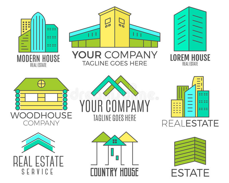 Set of vector house logo designs, real estate icon suitable for info graphics, websites and print media. Vector, flat vector illustration