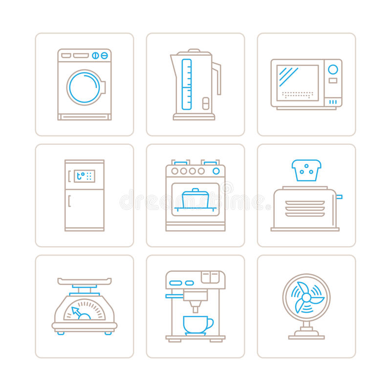 Set of vector household appliances icons and concepts in mono thin line style.  stock illustration