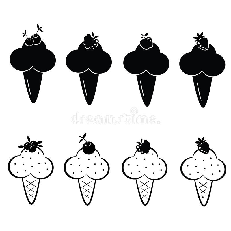 Set of vector ice cream icons stock illustration