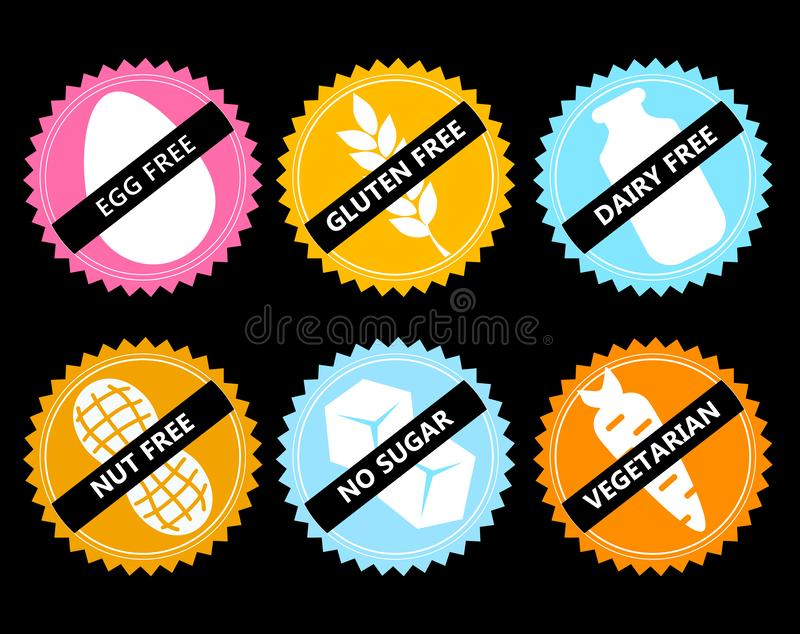 Set Vector icon egg free, gluten, dairy, nut, no sugar, vege. Set ingredient warning label icons. Common allergens gluten, dairy, egg, nuts, sugar , plus stock illustration