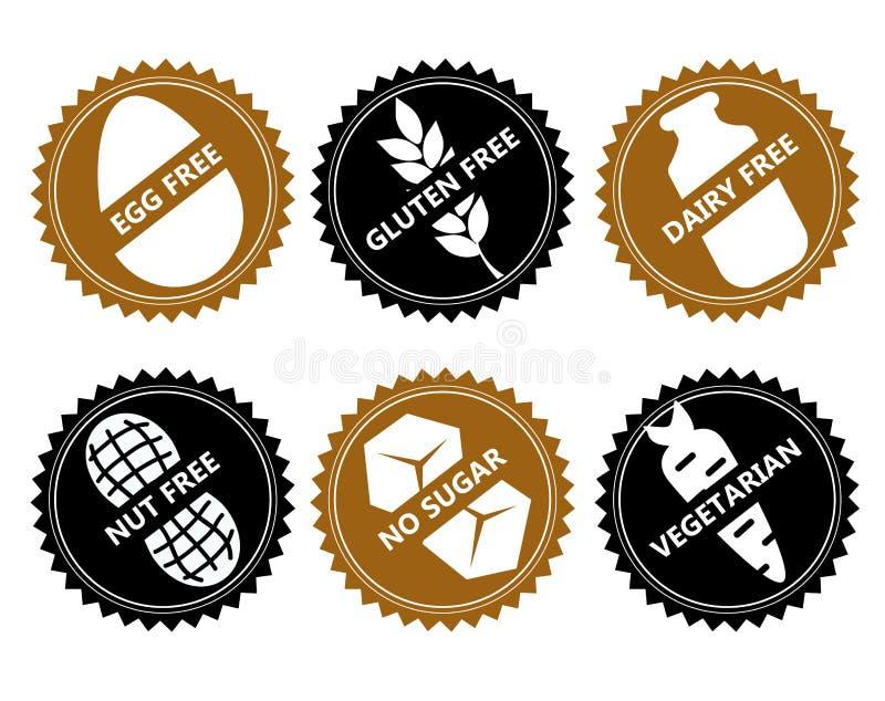 Set Vector icon egg free, gluten, dairy, nut, no sugar, vege. Set ingredient warning label icons. Common allergens gluten, dairy, egg, nuts, sugar , plus royalty free illustration