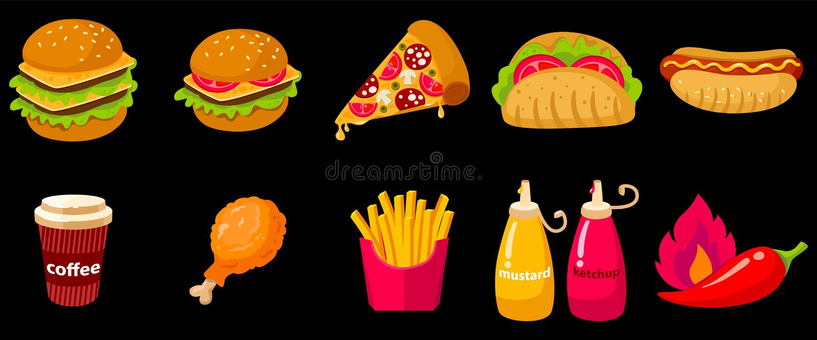 Set of Vector icon illustration of fast food. With burger, hot dog, sandwiches, hamburger, coffee, pizza, French fries, donuts, chicken isolated on black stock illustration