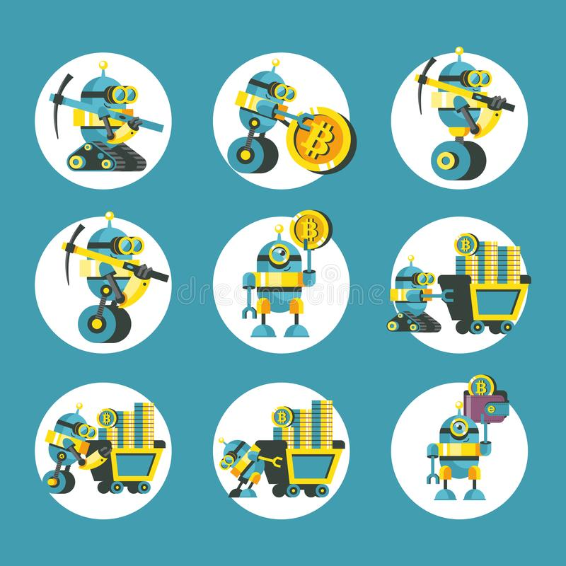 Bitcoin mining. Vector conceptual illustration. Cryptocurrency. Set of vector icons bitcoin. Cute robots mine bitcoins. Bitcoin mining. Vector conceptual stock illustration