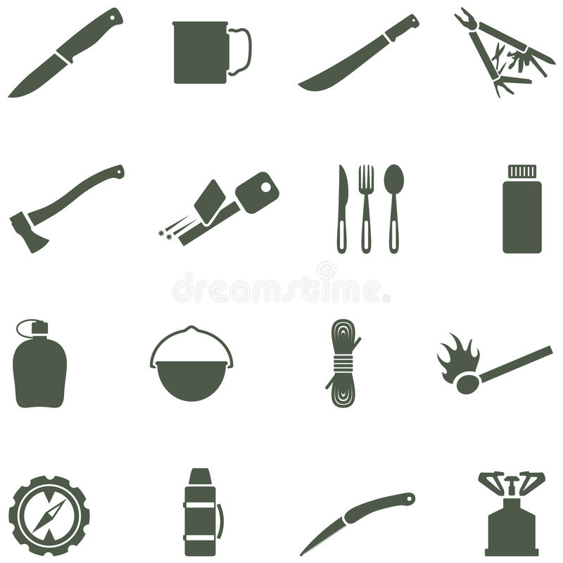 Download Set Of Vector Icons With Camping Equipment And Acc Royalty Free Stock Photo - Image: 37202675