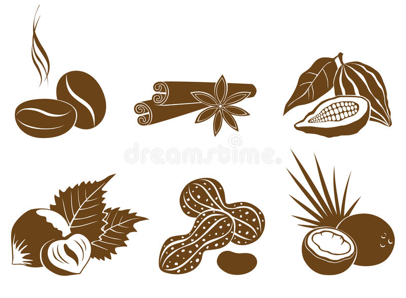 Set of vector icons dessert ingredients royalty free illustration