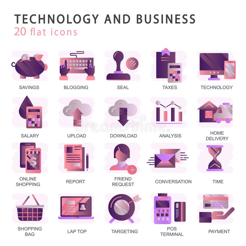 Set vector icons with elements for mobile concepts and web apps. Business and marketing, programming, data management, internet connection, social network stock illustration