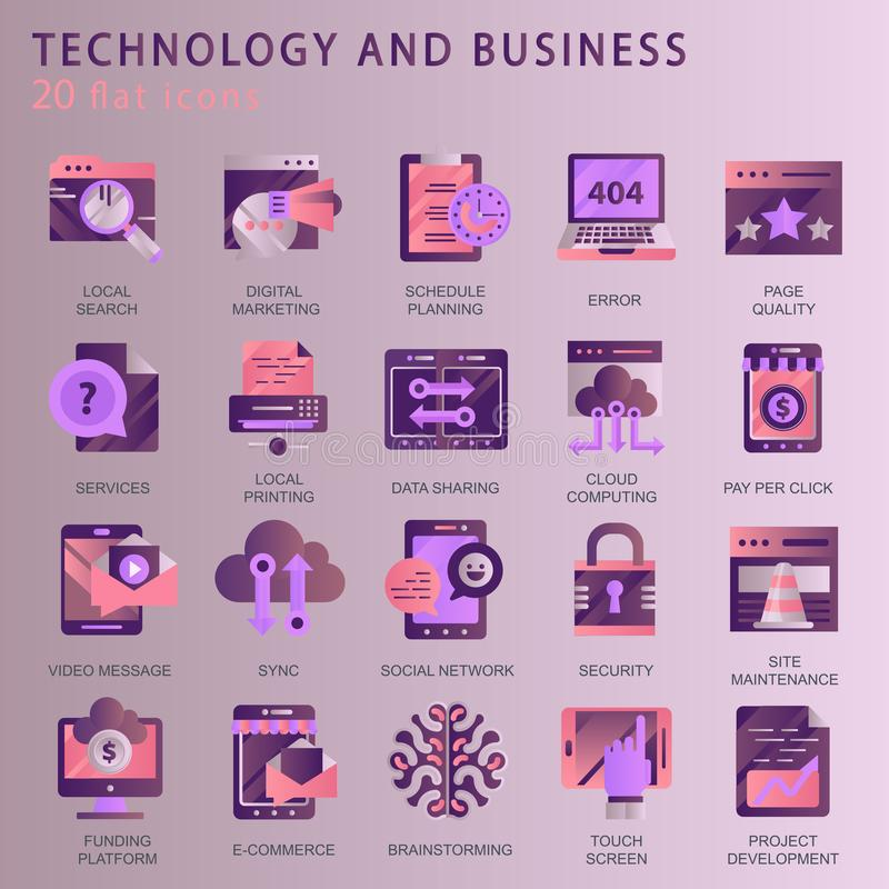 Set vector icons with elements for mobile concepts and web apps. Business and marketing, programming, data management, internet connection, social network vector illustration