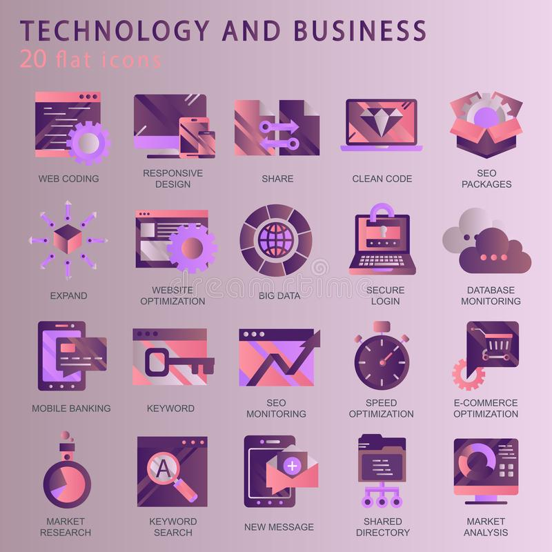 Set vector icons with elements for mobile concepts and web apps vector illustration