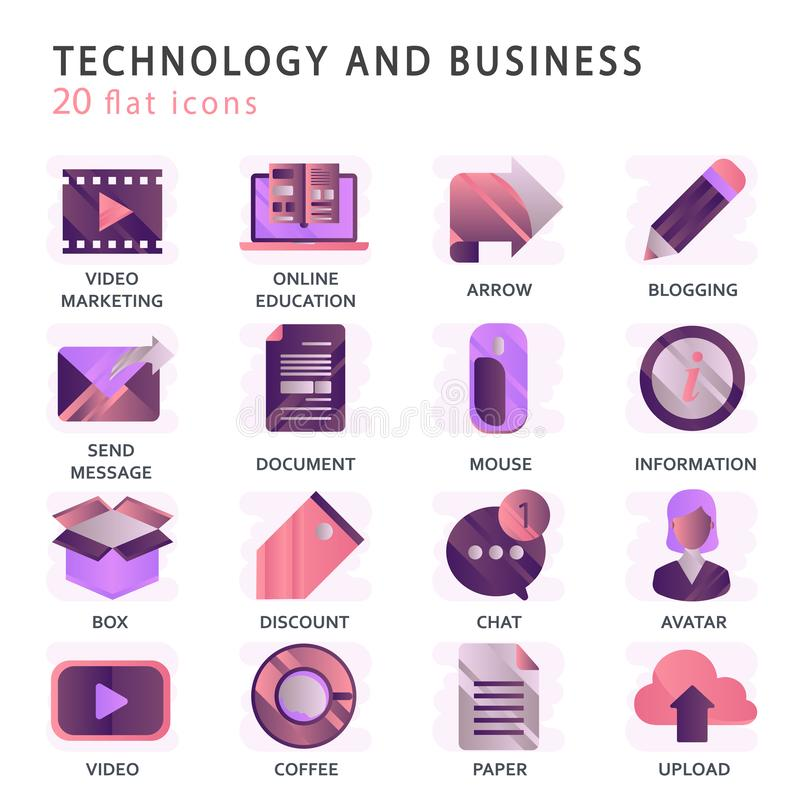 Set vector icons with elements for mobile concepts and web apps. Business and marketing, programming, data management, internet connection, social network royalty free illustration