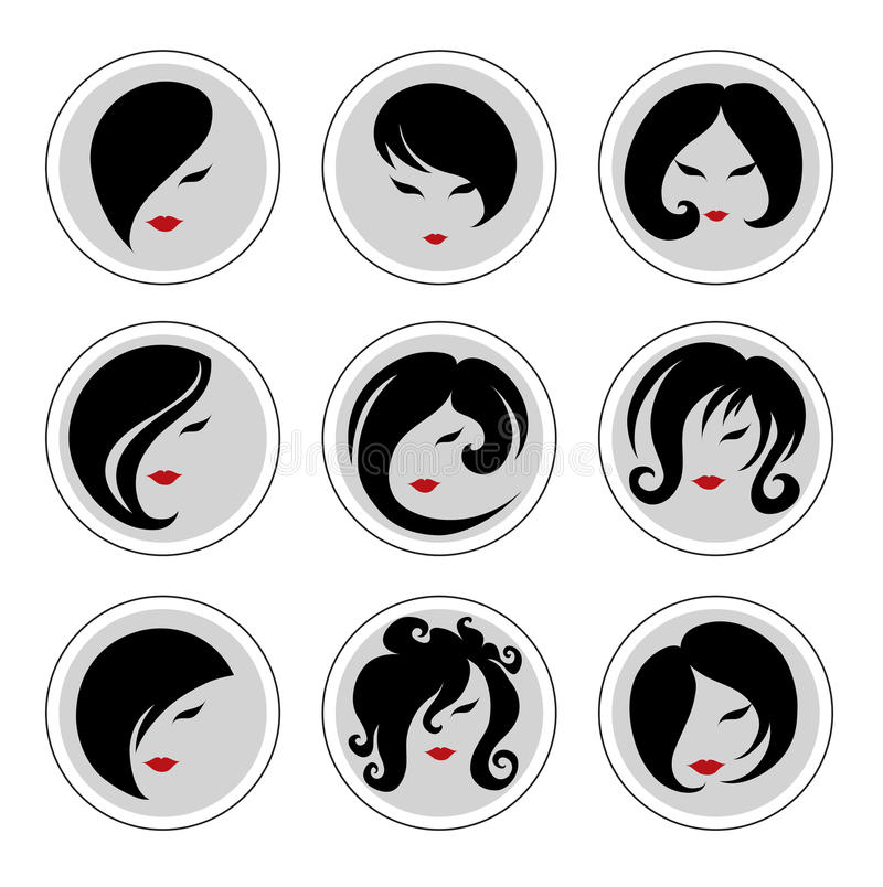 Set of vector icons. Fashion illustrations of trendy hairstyle for woman royalty free illustration