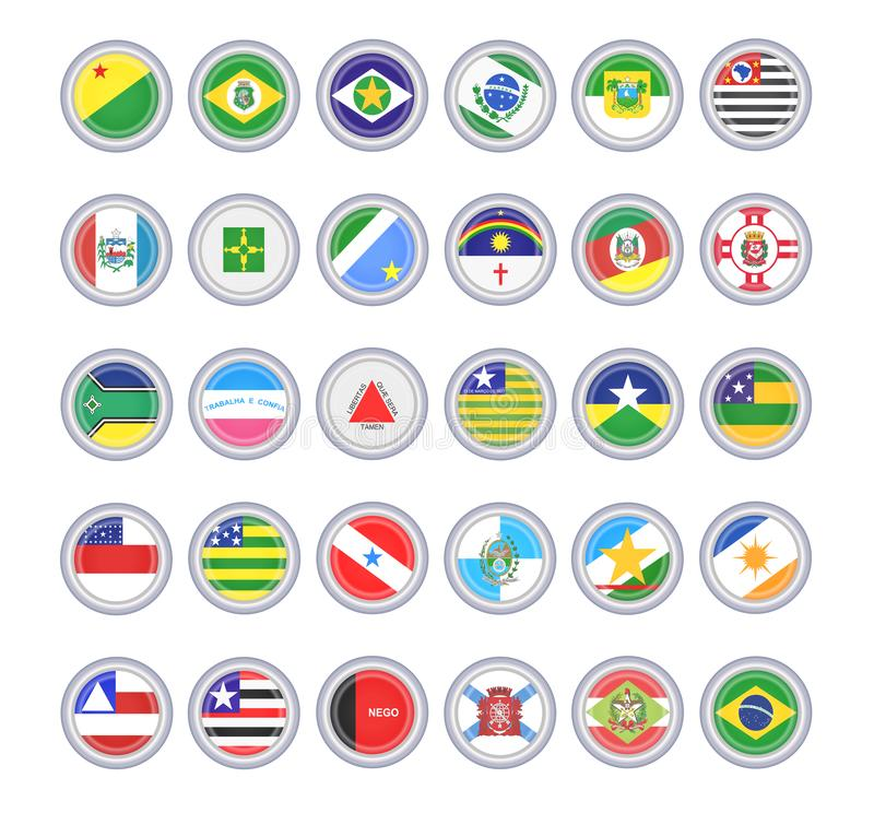 Set of vector icons. Flags of the Brazilian states. royalty free illustration