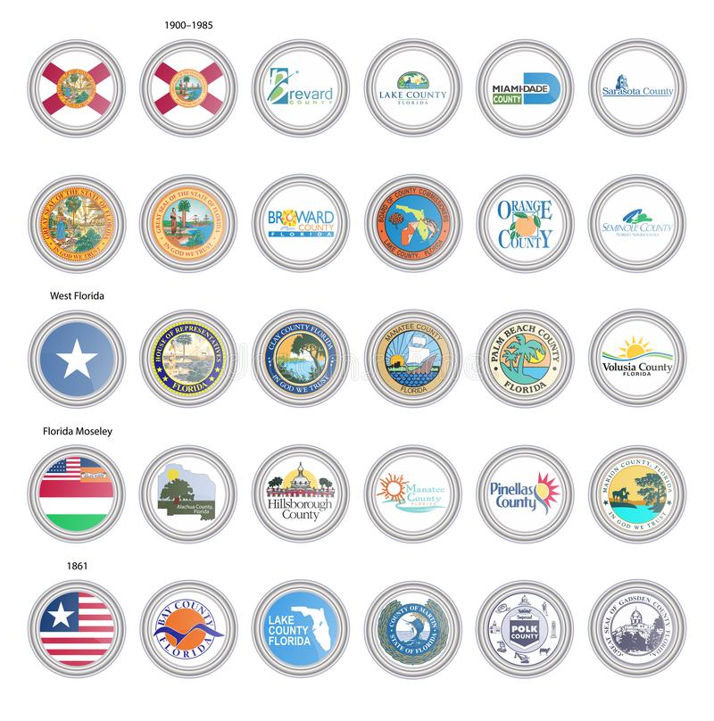Set of vector icons. Flags and seals of Florida state, USA. royalty free illustration