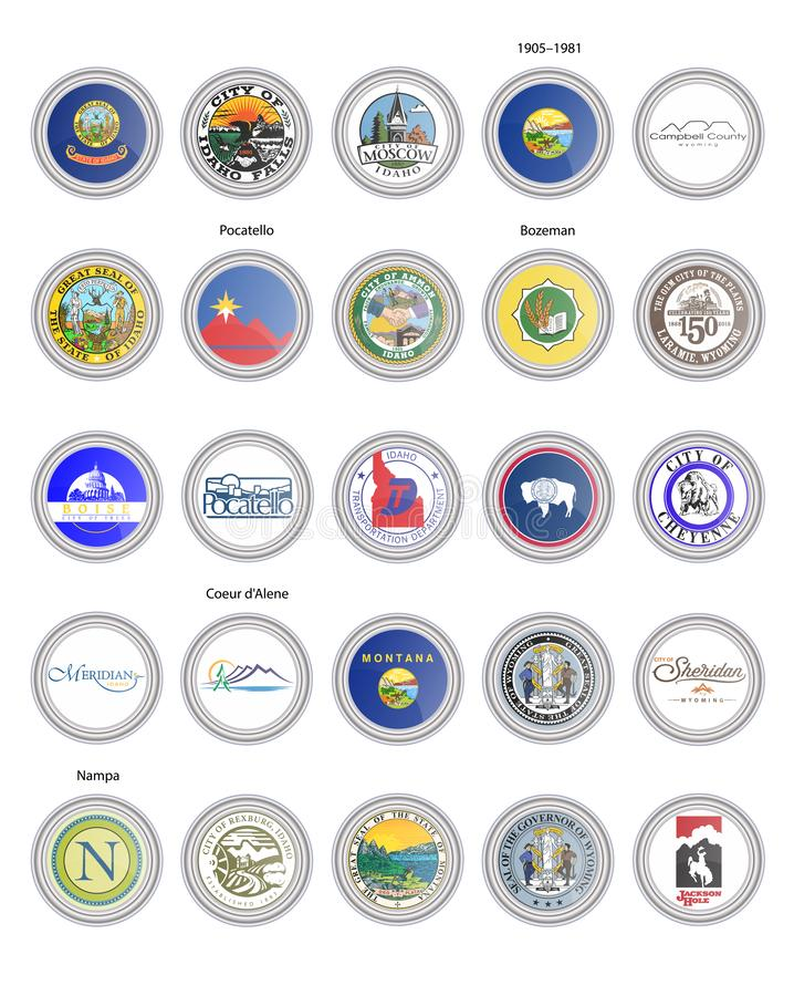 Set of vector icons. Flags and seals of Idaho, Montana and Wyoming states, USA vector illustration