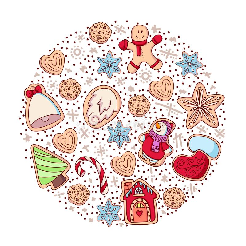 Set of vector icons of ginger bread cookies in flat style. Gingerbread men and Christmas tree, star, heart, bell. And other holiday symbols baked by hand royalty free illustration