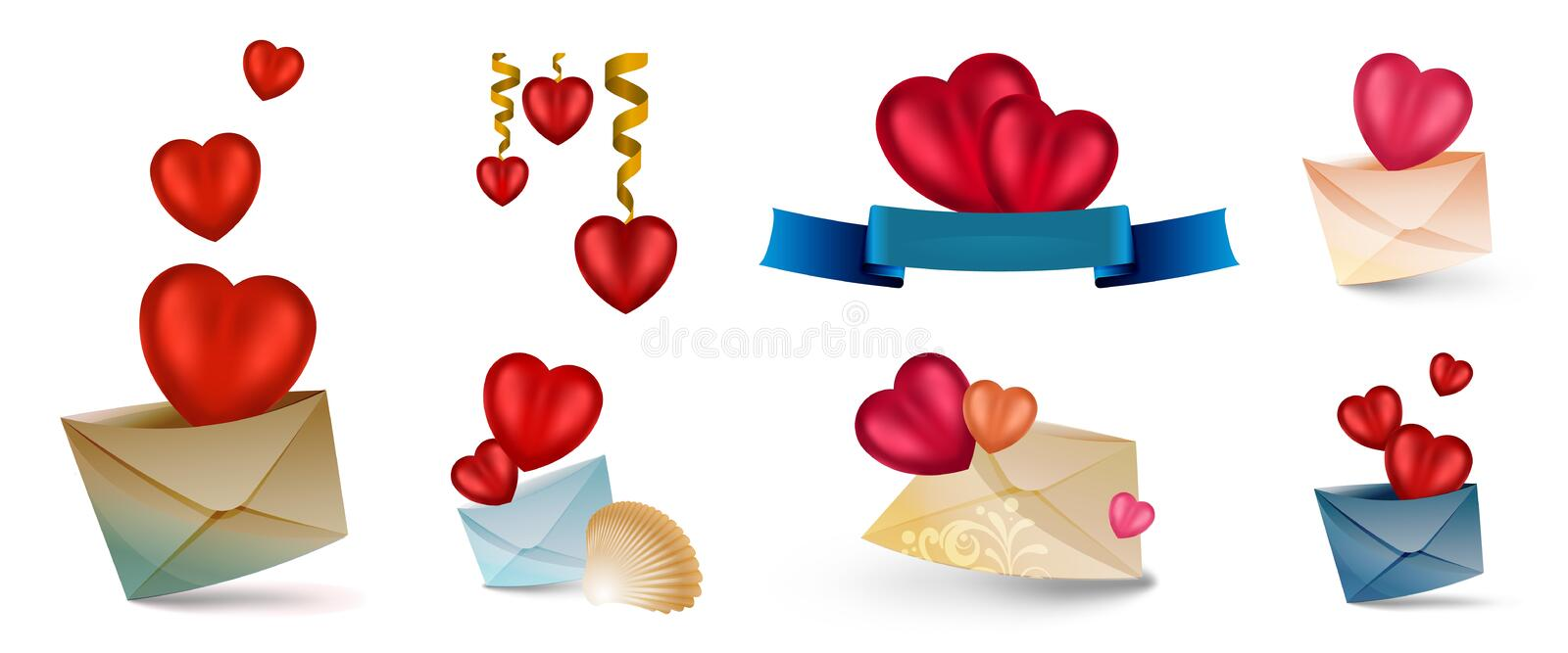 Set of vector icons with hearts isolated on white. Contains Mesh elements. Set of vector cartoon icons with hearts isolated on white. Contains Mesh elements stock illustration
