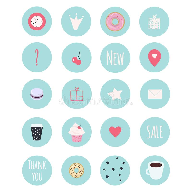 Set of 20 vector icons including sweets for patisserie royalty free illustration
