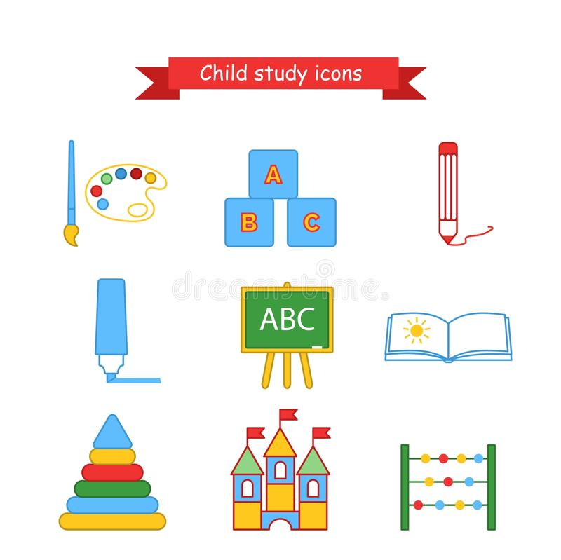 Set of vector icons kids education. Collection of icons for lesson brush, paint, pencil, pen, blackboard, album, pyramid stock illustration