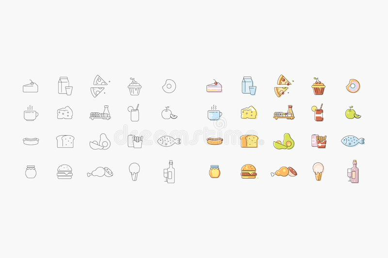 Set of vector icons about kitchen royalty free illustration