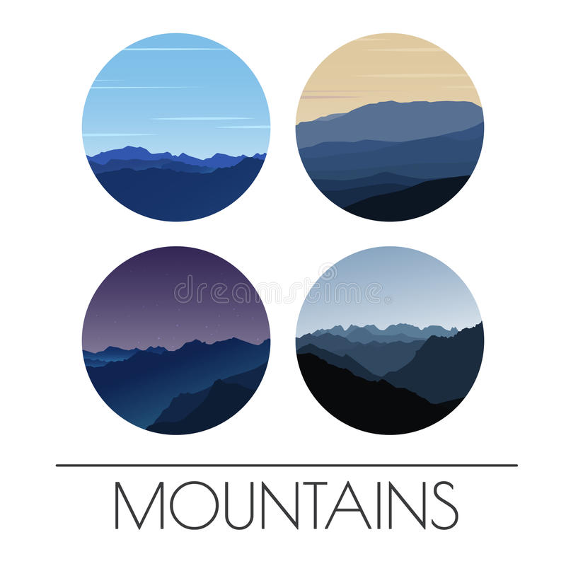 Set of vector icons - mountains landscape. Illustration of smoky mountains. vector illustration