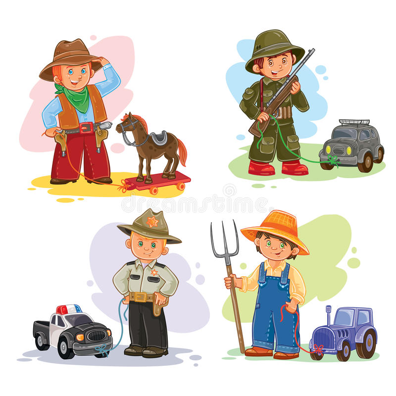 Free Set Vector Icons Of Small Children Different Professions Royalty Free Stock Photography - 79025577