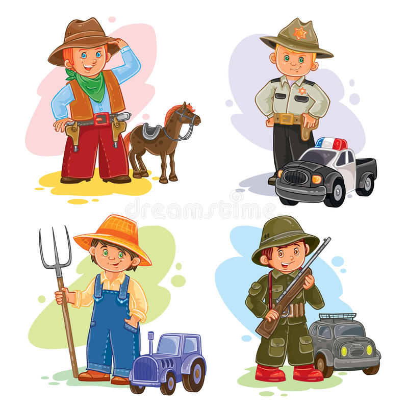 Free Set Vector Icons Of Small Children Different Professions Stock Photography - 79412272