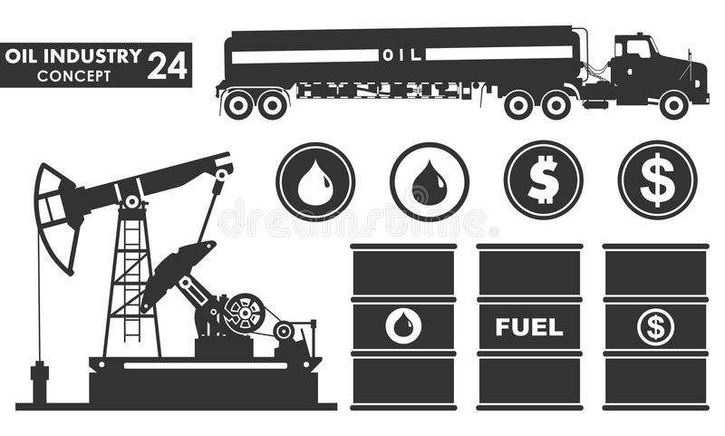 Set vector icons of petroleum and oil industry concept. Different silhouettes of gasoline truck, oil pump, barrel. Dollar and drop royalty free illustration