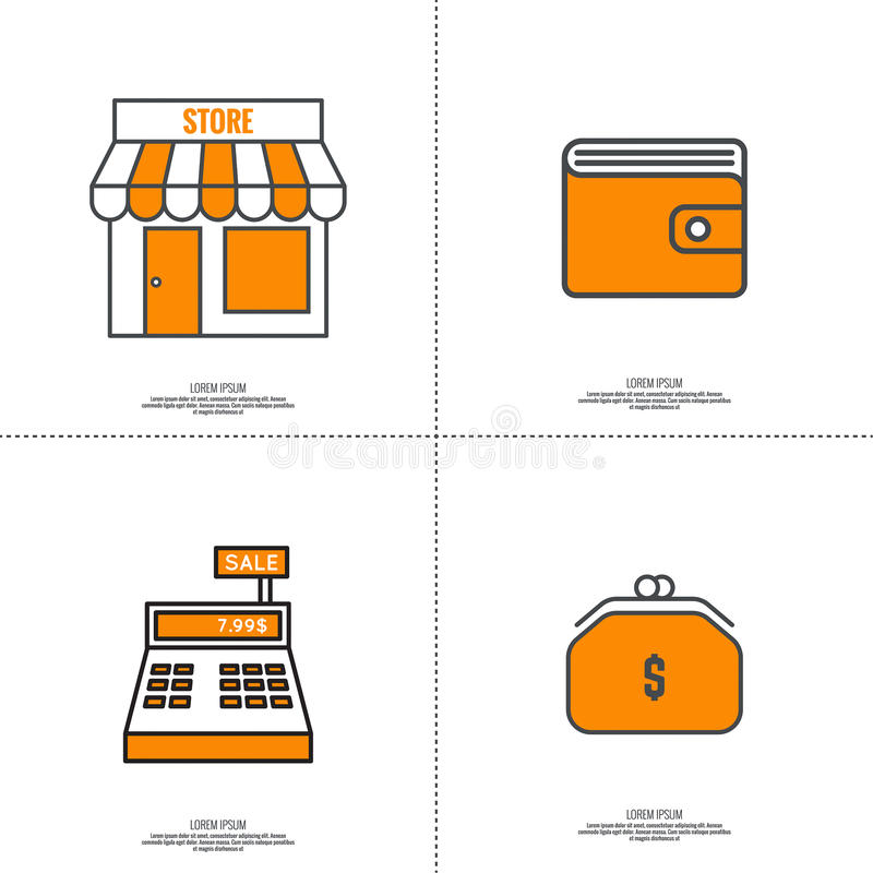 Set of vector icons pictograms royalty free illustration