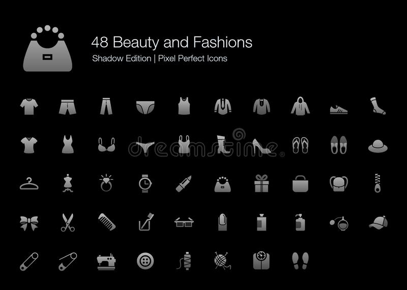 Beauty and Fashions Pixel Perfect Icons Shadow Edition. stock illustration