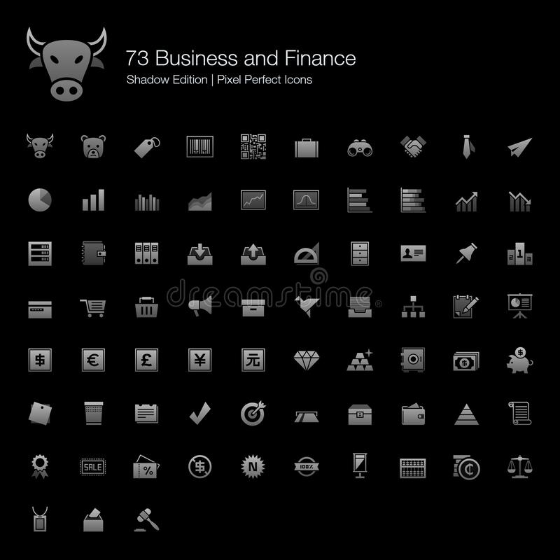 Business and Finance Pixel Perfect Icons Shadow Edition. stock photo