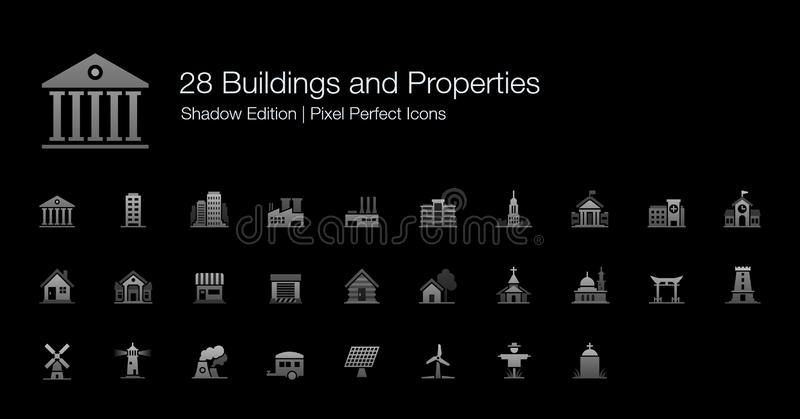 Buildings and Properties Pixel Perfect Icons Shadow Edition. Set of vector icons representing various buildings for residential and commercial activies in grey royalty free illustration