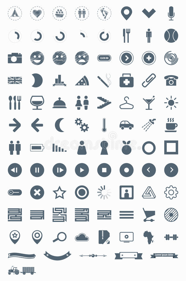 Download Set Vector Icons, Signs, Symbols And Pictograms. Royalty Free Stock Photos - Image: 24919558