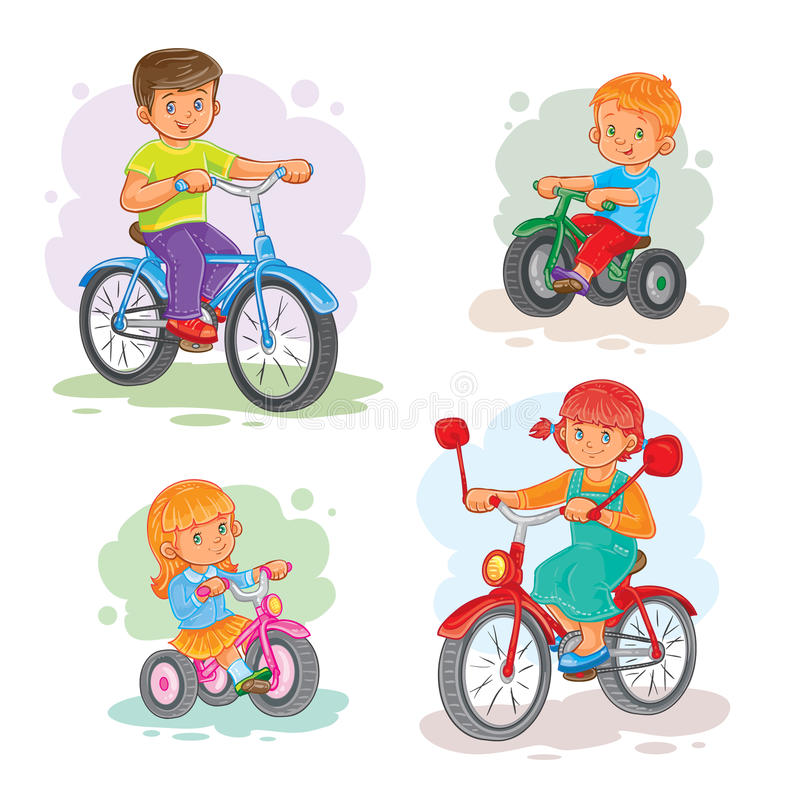 Set of vector icons small children on bicycles stock illustration