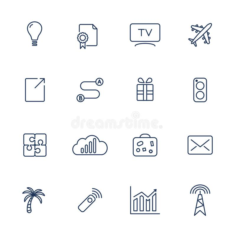 Set of 16 vector icons for software, application or websites - social media and technology vector illustration