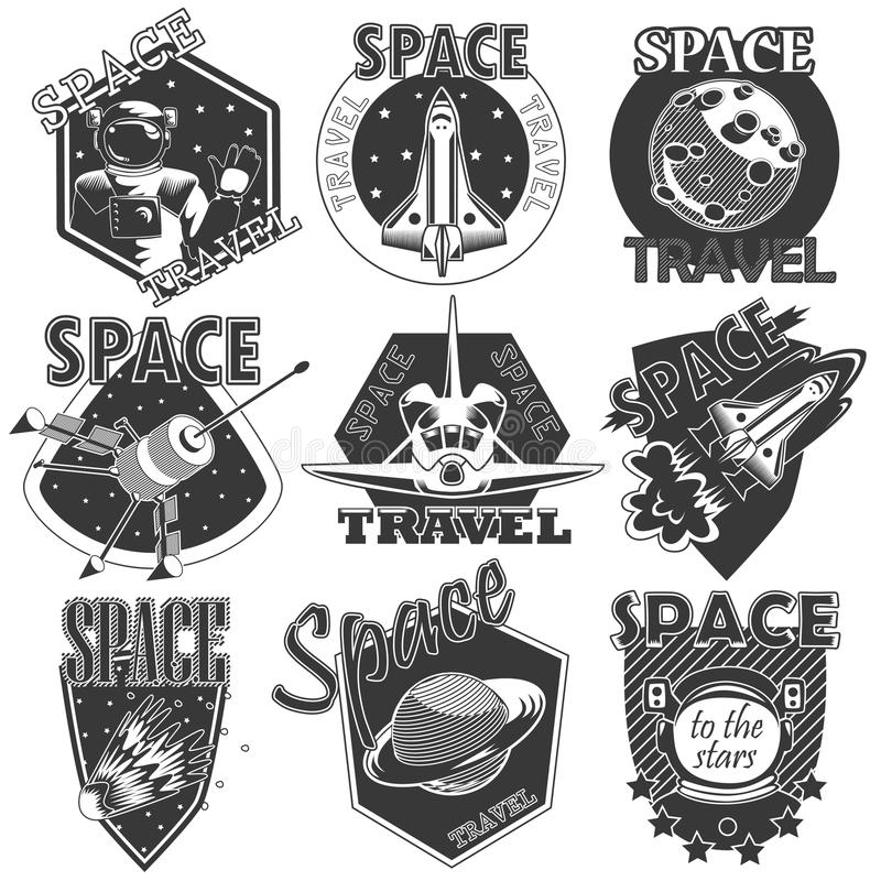 Set of vector icons space. Set of vector icons of space. Elements of design, badges, logo and emblem on a white background. The concept of space travel stock illustration