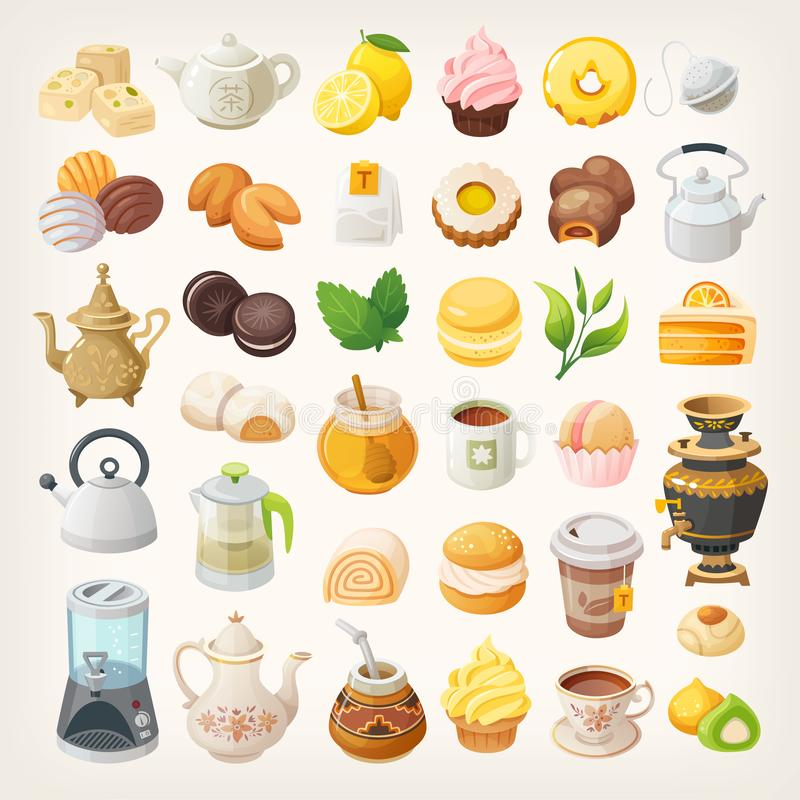 Set of vector icons. Tea cups, kettles and desserts. Tea additives and foods. Isolated vector illustrations stock illustration