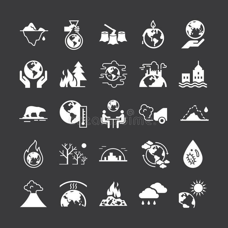 Set of vector icons on the theme of ecology, global warming and ecology problems of our planet. royalty free illustration