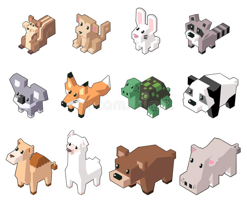 Set vector illustration of cute isometric animals. stock photos